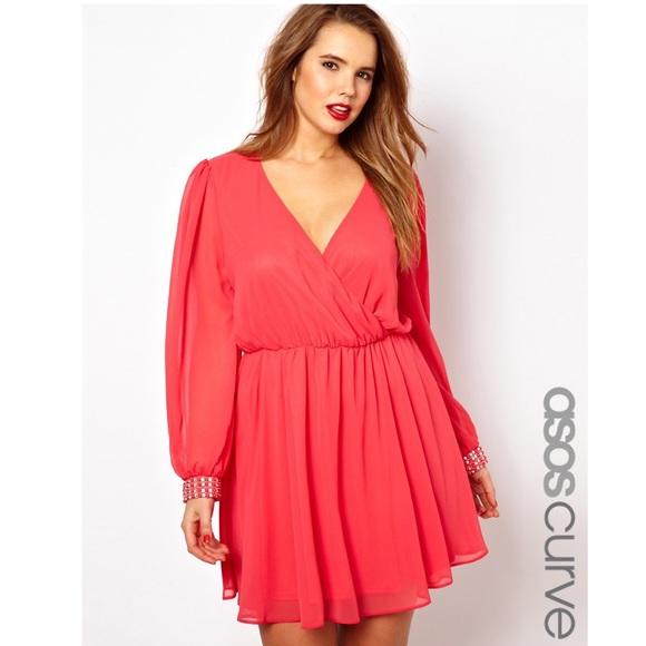 ASOS Curve Dresses | Plus Size Dress Coral Embellished | Poshmark